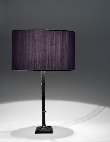 A stitched leather table lamp Adnet, French c 1930