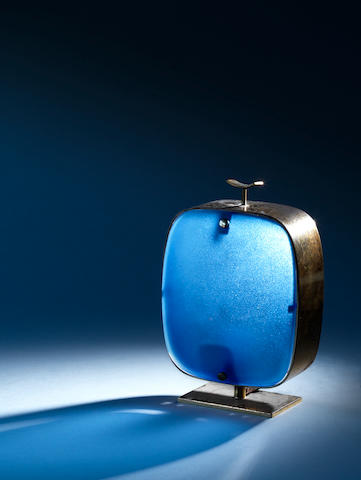 A metal and blue glass table lamp Fontana Arte, Italian c 1950