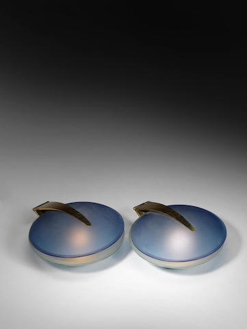 A  pair of gilt metal and blue glass oyster lamps Max Ingrand, Fontana Arte, Italian c 1960