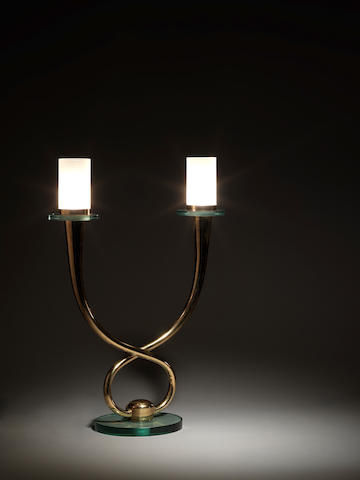 A gilt metal and glass table lamp Fontana Arte, Italian c 1960