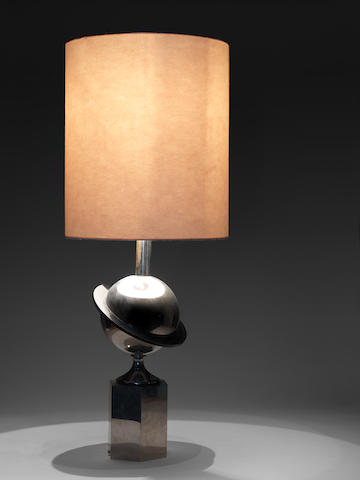 A metal and lucite 'saturn' table lamp French, c 1960