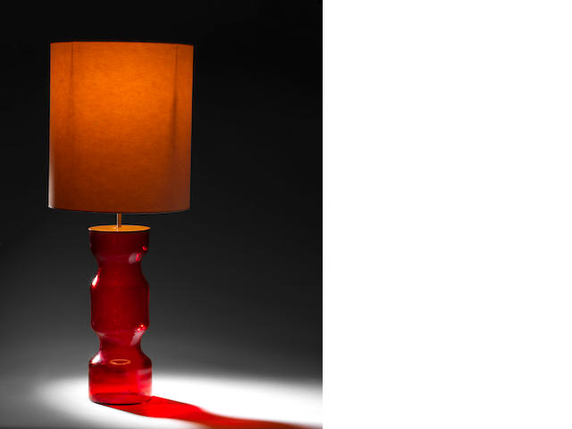 A red glass table lamp Murano, Italian c 1970