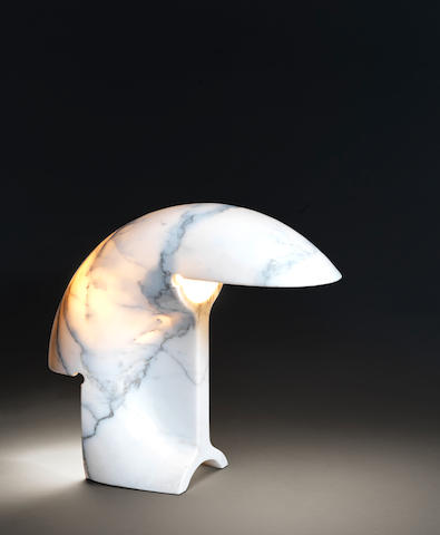 Tobia Scarpa for Flos A Biagio Table Lamp  designed 1968  carved white marble with applied label for FLOS  Height: 13 in. 33 cm.