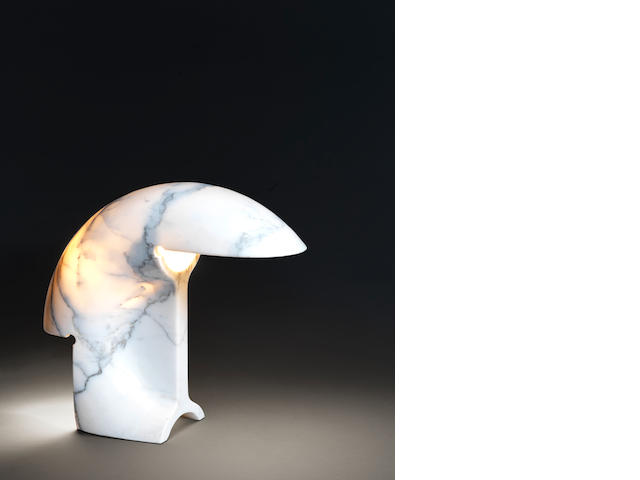 A carved white Bottocino marble table lamp Tobias Scarpa, Italian c 1970