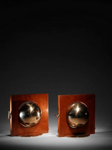 Boris Jean Lacroix A Pair of Adjustable Table Lamps circa 1930  stained mahogany and chromed metal  9 7/16 x 9 1/16 in. 24 x 23 cm.