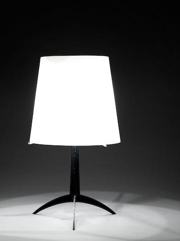 Fontana Arte A 2253 Table Lamp circa 1955  lacquered steel with an opaque glass shade  Height including shade: 11 1/16 in. 56 cm.