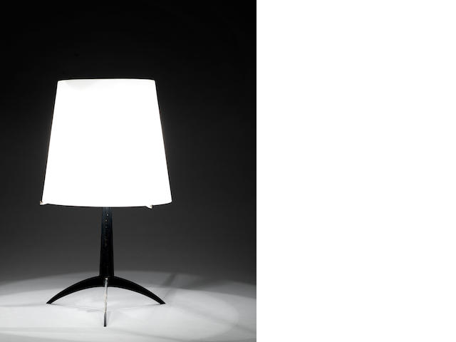 An enamelled metal table lamp with opaque glass shade Attributed to Max  Ingrand Fontana Arte, 1955