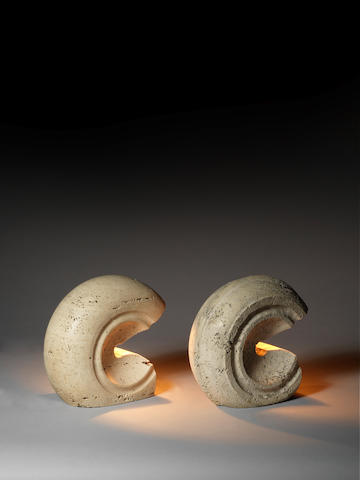 A pair of travertine table lamps Italian c 1960