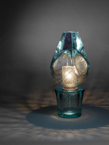 A nickel plated and aquamarine cut and polished glass table lamp Seguso, Italian c 1960