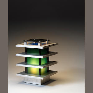 A aluminium and perspex table lamp Italian c 1970