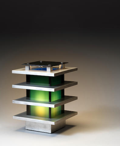 A aluminium and perspex table lamp Italian c 1970