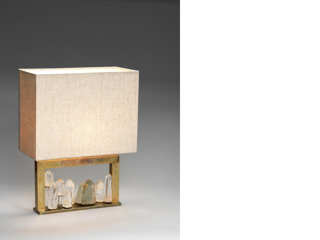 A brass and rock crystal table lamp in the style of du Plantier French c 1970