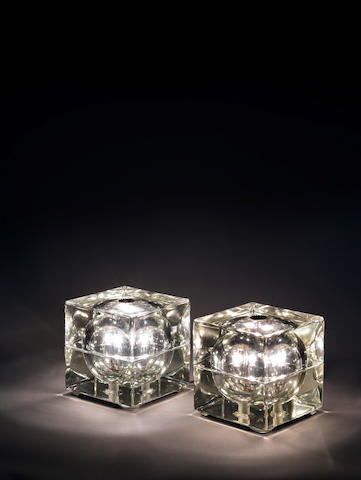 A pair of glass cube lamp Mendini, Italian c 1960