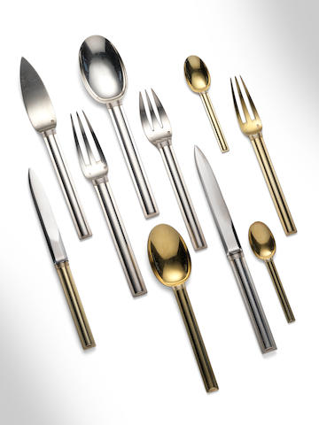 Jean E. Puiforcat A Suite of Monaco Silver and Silver Gilt Cutlery designed 1925  comprising six teaspoons, six fish forks, six fish knives, six spoons, six forks, six knives, six large knives, six large spoons, twelve large forks  hallmarked  (60)
