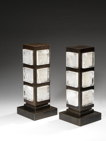 A pair of bronzed and rock crystal table lamps Paul Belvoir, English Ed. 1/4 pairs