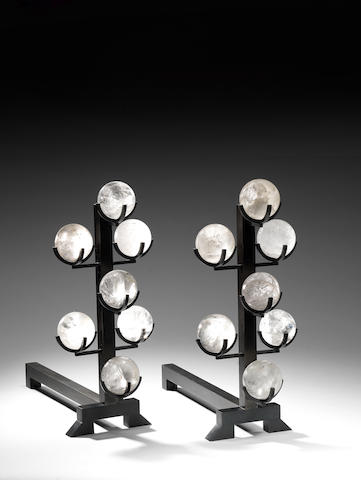 A pair of iron  and rock crystal andirons by Paul Belvoir