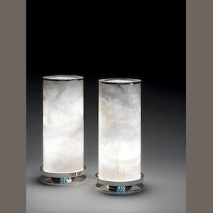 A pair of rock crystal lanterns with sterling silver bases Paul Belvoir