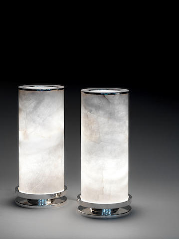 Paul Belvoir A Pair of Table Lamps 2012  sterling silver and rock crystal hallmarked and stamped PGB and BELVOIR to the underside of the base  Height 26 3/8 in. 67 cm.