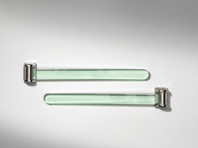 Fontana Arte A Pair of Towel Rails circa 1955  glass and chromed metal   18 5/16 in. 46.5 cm.