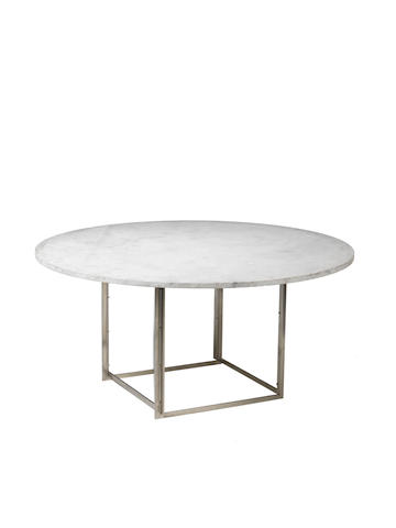 A steel and stone centre table round PK 45 Poul Kjaerholm Danish C 1960