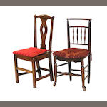 A pair of George III elm side chairs together with an English Provincial mixed wood side chair 18th/19th century