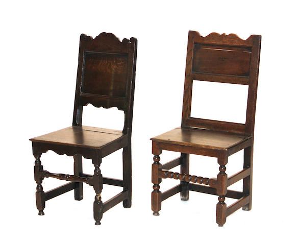 Two French Baroque oak side chairs early 18th century