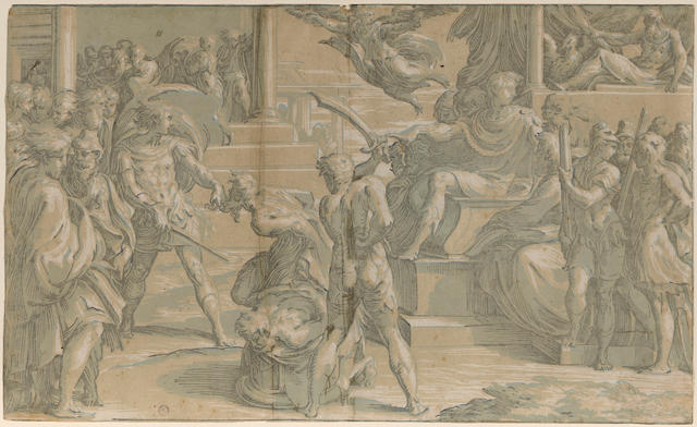 Antonio da Trento (1508-circa 1550); The Martyrdom of Saints Peter and Paul, after Parmigianino;