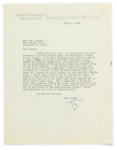 "CHANDLER, RAYMOND. 1888-1959. Typed Letter Signed (""Ray""), 1 p, 4to, La Jolla, California, July 11, 1952,"