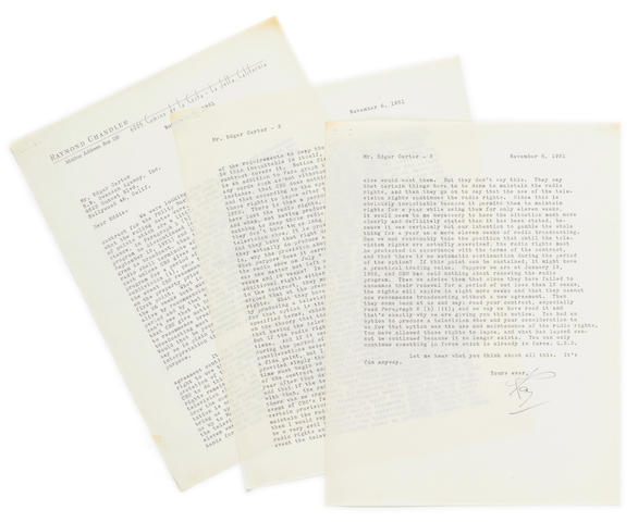 "CHANDLER, RAYMOND. 1888-1959. Typed Letter Signed (""Ray""), 3 pp, 4to, La Jolla, California, November 6, 1951,"