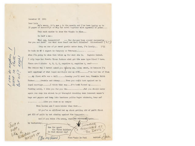 "KEROUAC, JACK. 1922-1969. Typed Letter Signed (""Jack"") with additions in holograph, 1 p, [Orlando, Florida], December 18, 1961,"