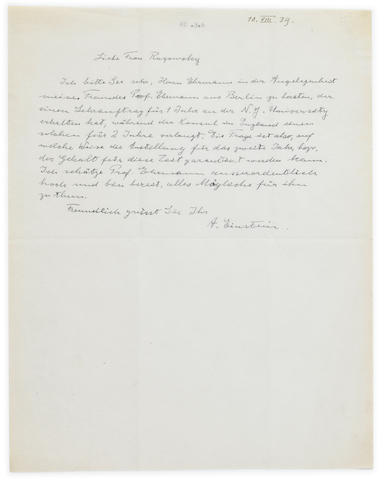 "EINSTEIN, ALBERT. 1879-1955. Autograph Letter Signed (""A. Einstein""), in German, 1 p, August 10, 1939,"