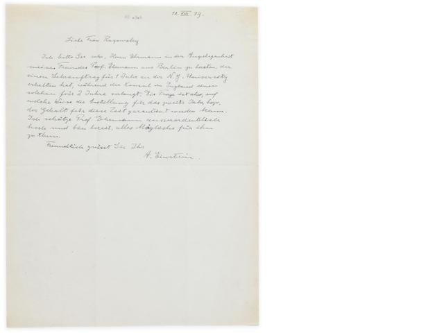 """EINSTEIN, ALBERT. 1879-1955. Autograph Letter Signed (""""A. Einstein""""), 1 p, August 10, 1939,"""