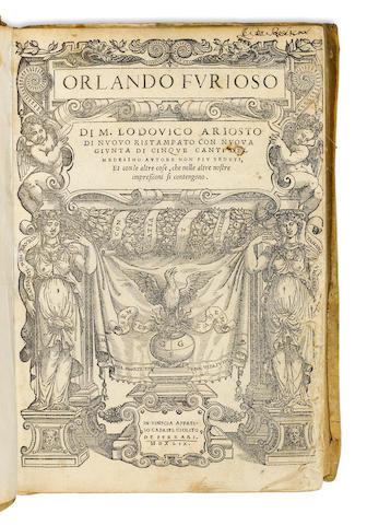 ARIOSTO, LODOVICO. 1474-1533. Orlando Furioso...di duovo ristampato con nuova giunta di cinque canti....[with] Espositione di tuttii vocaboli, et luoghi difficili.... Venice: Gabriel Giolito de Ferrari, 1549.