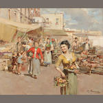 Mario Maresca (Italian, 1877-1959) A market scene with a girl carrying baskets of fruit 25 x 30in