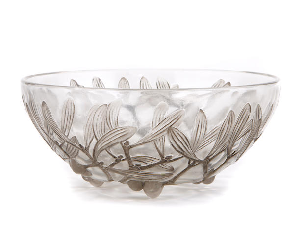 An R. Lalique bowl, a menu holder and two goblets: Gui No. 2, Pinsons and Pouilly (Marchilhac 3224, 3501 and 5226), models introduced 1921, 1924 and 1931