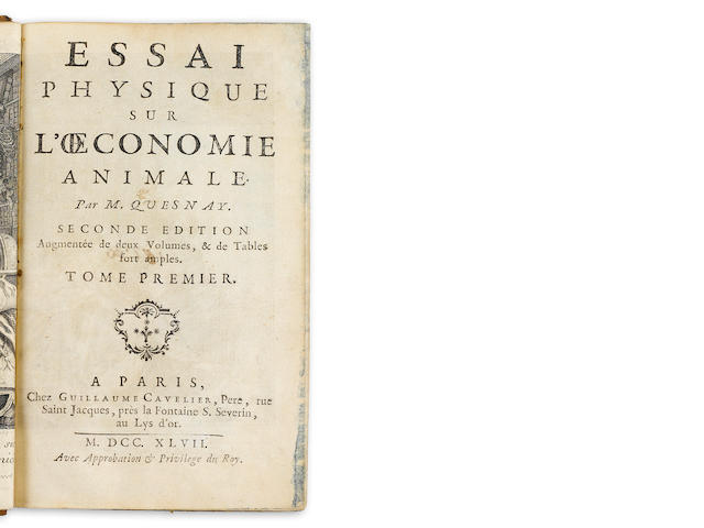 QUESNAY, FRANCOIS. 1694-1774. Essai physique sur l'oeconomie animale. Paris: Guillaume Cavelier, 1747.