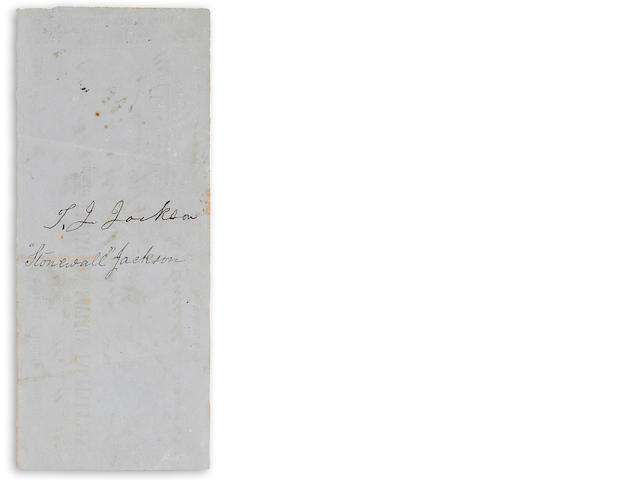 "JACKSON, THOMAS JONATHAN ""STONEWALL."" 1824-1863. Bank Check Endorsed (""T.J. Jackson""), 2 3/4 x 6 3/4 in., Lexington Savings Instiution, May 11, 1858, issued by Virginia Military Institute, filled out in manuscript, endorsed on verso,"