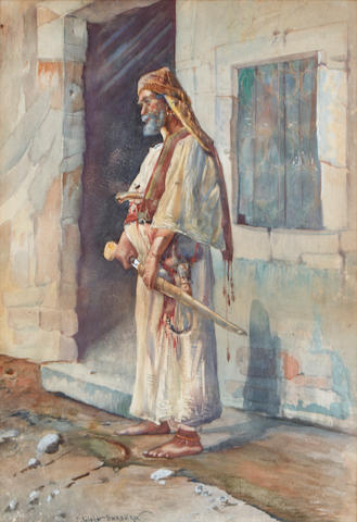 Camillo Gioja Barbera (Italian) An Arab, standing by a doorway, armed with a sword sight 16 x 11in