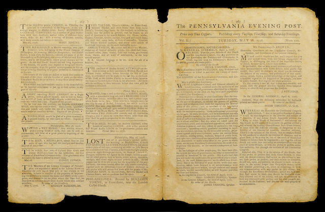 DECLARATION OF INDEPENDENCE. The Pennsylvania Evening Post. Philadelphia: Printed by Benjamin Towne, May 28, 1776.