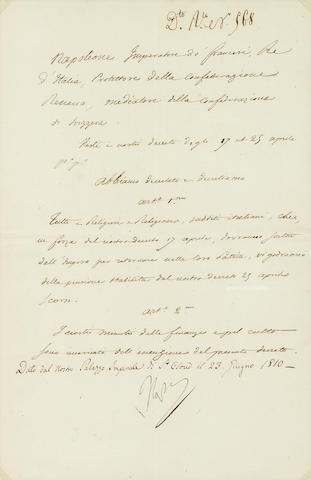 "BONAPARTE, NAPOLEON. 1769-1821. Document Signed (""Napol""), 1 p, legal folio, St. Cloud, June 23, 1810, in scribal Italian,"