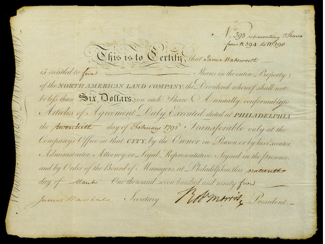 "MORRIS, ROBERT.  1734-1806. Document Signed (""Robt Morris""), partially printed and accomplished in manuscript, 1 p, oblong 4to, Philadelphia, March 19, 1795,"