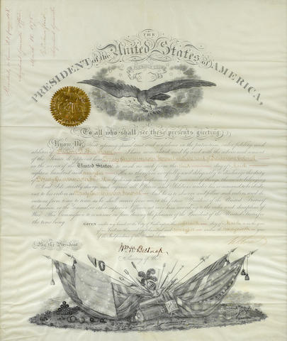 "GRANT, ULYSSES S.  1822-1885. Document Signed (""U.S. Grant"") as President, partially printed and accomplished in manuscript, 1 p, folio, on vellum, Washington, March 18, 1875,"