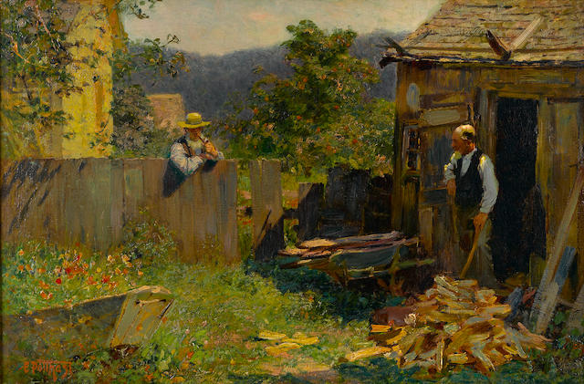 Edward Henry Potthast (American, 1857-1927) Chopping wood 20 x 30in