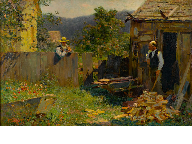 Edward Henry Potthast (American, 1857-1927) Chopping wood