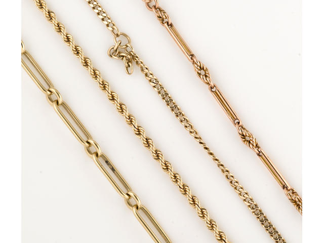 A collection of four 9k, 14k and 15k gold watch chains