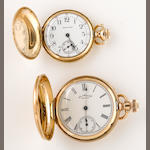 Two 14K gold hunter cased fob watches, Waltham