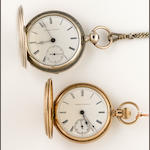 Two American key winding hunter cased watches, Elgin