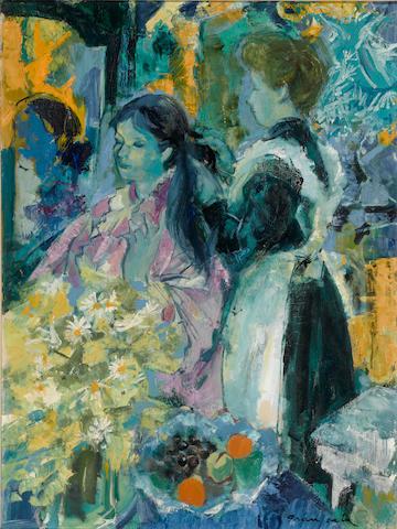 Emilio Grau Sala (Spanish, 1911-1975) Dame et coiffeuse  28 3/4 x 21 1/4in. (73 x 54cm)