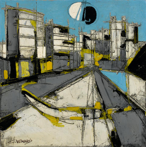 Claude Venard (French, 1913-1999) Le quai 30 1/2 x 30 1/3in. (77.5 x 77.5cm)