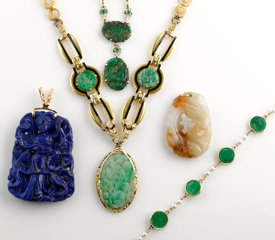 A collection of jadeite jade, cultured pearl, diamond, enamel and various gold jewelry together with a lapis lazuli and 14k gold pendant